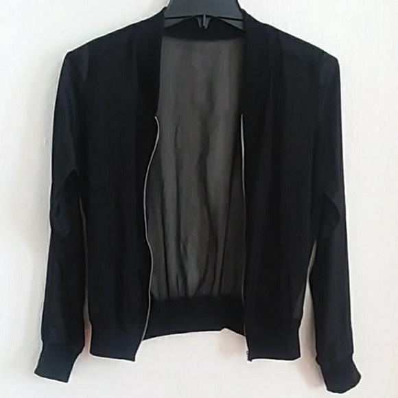 3d5895c83 Black Satin & Chiffon bomber jacket